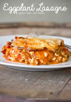 Gluten & grain free eggplant lasagne is a delicious way to serve your favorite cheesy dish without the pasta- Full of flavor & veggies your family will love Gluten Free Recipes, Vegetarian Recipes, Healthy Recipes, Veggie Recipes, Thm Recipes, Vegan Meals, Healthy Habits, Healthy Meals, Pasta Recipes