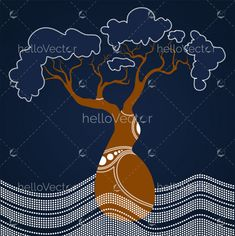 New tree vector paint Ideas Baobab Tree, Tree Illustration, Indigenous Art, Aboriginal Art, Dot Painting, Vector Background, Tree Of Life, Trees To Plant, Art Forms