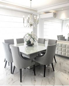 Discover the best residence pieces for any form of home furnishings, see superb inspirations of quality furniture and design. Grey Dinning Room, Dining Room Drapes, Dining Table In Living Room, Dining Room Windows, Luxury Dining Room, Dining Room Sets, Dining Room Design, Home Living Room, Living Room Decor