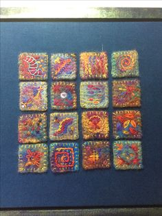 Inchies on felt. Only one stitch and one thread.