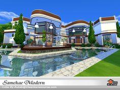 autaki's Samekae Modern Living Room Kitchen, Sims 4, Swimming Pools, Patio, Mansions, House Styles, Luxury, Modern, Swiming Pool