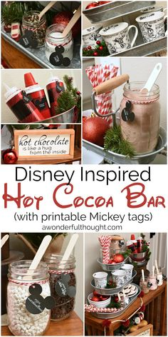 Check out this fun Disney inspired hot cocoa bar! Your kids will love it and there are free printable Mickey head label tags for you to use. Hot Chocolate Party, Cocoa Party, Christmas Hot Chocolate, Hot Chocolate Recipes, Chocolate Bars, Christmas Coffee, Vegan Chocolate, Disney Christmas, Christmas Treats