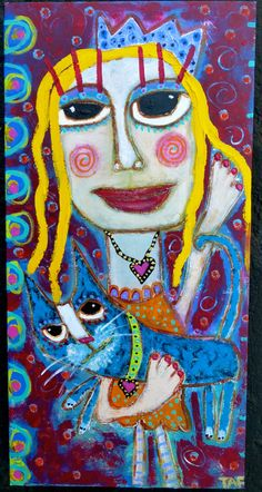 """Mr Whiskers & Me, True Love For Ever"" an original acrylic on canvas by Tracey Ann Finley www.traceyannfinley.com"