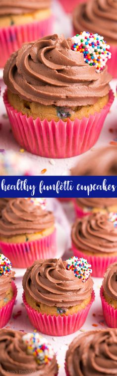 {HEALTHY} Funfetti Cupcakes -- only 132 calories, including the chocolate frosting! They're easy to make & taste AMAZING! (And the frosting is made from Greek yogurt!) Perfect for birthdays or celebrations of ANY kind! #recipe