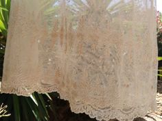 Antique 1900's French Handmade Christening Sheer Tulle Gown. Sheer Champagne…