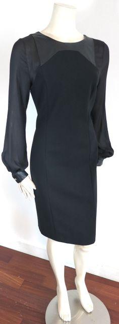GIANNI VERSACE Black leather panel dress