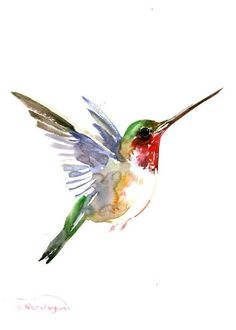 Cool watercolor flying hummingbird tattoo design