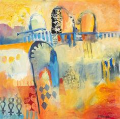 ARTFINDER: City Walls Marrakech by Karen Stamper - A joyful scene from Marrakech in bright oranges and blues. When you wander around the medina you are enticed through archways and alleyways where there is al...