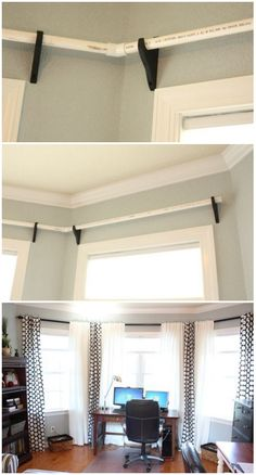 curtain rodes using PVC pipes decor diy curtains Pvc Projects, Home Projects, Diy Casa, Diy Curtains, How To Hang Curtains, Paint Curtains, Orange Curtains, Coastal Curtains, Hanging Curtains