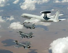 French Armée de l'Air Boeing A-3 AWACS with USAF F-16 Fighting Falcon escort.