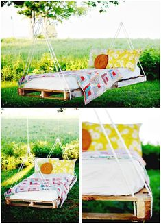 Make Pallet Swing Bed Tutorial - 110 DIY Backyard Ideas to Try Out This Spring & Summer - DIY & Crafts