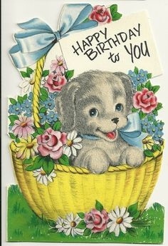 VINTAGE HAPPY BIRTHDAY STANLEY GREETINGS CARD USED FLOCKED PUPPY IN BASKET OF FLOWERS
