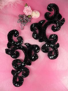 0242 Black Mirror Pair Sequin Beaded Appliques 6 by gloryshouse, $7.99