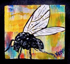 MAiNE-BLACKFLY-TiNY-3-x-3-wood-painting-KENO-FOLK-Artist-outsider-COASTWALKER