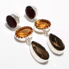 Silver Earrings – Semi Precious Smoky Quartz,Garnet Stone Earrings  – a unique product by 925silvercollection on DaWanda
