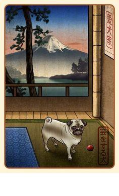 Pug Japanese Styled Print by ChetArt on Etsy, $18.00