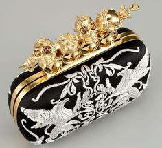 Alexander McQueen embroidered knuckle duster clutch