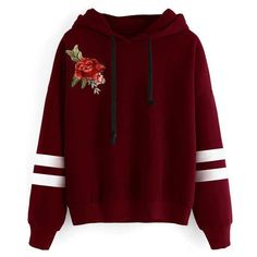 Red Striped  Embroidery Flower Long Sleeves Hoodie ($22) ❤ liked on Polyvore featuring tops, hoodies, striped hooded sweatshirt, red top, embroidered hoodies, long sleeve hoodie and sweatshirt hoodies
