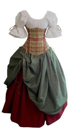 Amazon.com: Pearson's Costuming New Plaid Bonnie Lass-Plaid/Olive Green/Red-XS/SM: Clothing