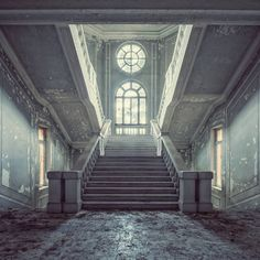 Buy Quattro - Limited Edition 6 of 10, a Color on Paper by Gina Soden from United Kingdom. It portrays: Architecture, relevant to: photography, stairs, texture, round window, fine art, interior design, colour, contemporary, decayed, architecture, light, abandoned The building is a huge abandoned asylum in Italy, where the staircase looks huge and quite opulent for such a functional building. Part of the location is still actively used as a hospital. Printed on Hahnemühle Fine Art Baryta…