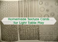 Homemade texture cards for light table play from And Next Comes L