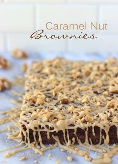 Caramel nut brownies! A delicious low carb chocolate brownie recipe drizzled with caramel and chopped nuts. Gluten free, keto, lchf, and Atkins diet friendly!