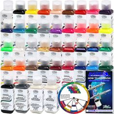 "Complete 38 Color Testors AZTEK Premium Acrylic Airbrush Paint Set 4"" Color Mixing Wheel"