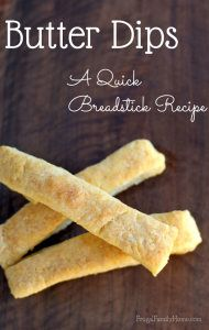 A quick and easy recipe for breadstick. These yummy buttery sticks are ready in about 25 minutes.
