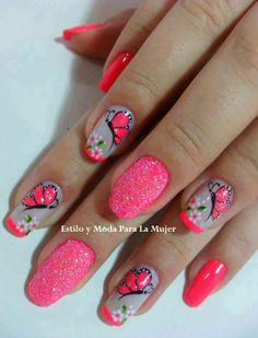 mariposas Green Nail Designs, Diy Nail Designs, Butterfly Nail Art, Flower Nail Art, Coral Nails, Green Nails, Fancy Nails, Pretty Nails, Diva Nails
