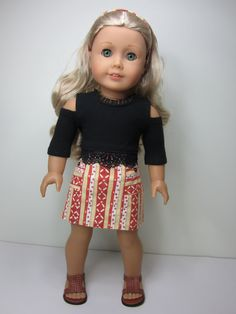 American girl doll clothes - Fun striped skirt and black open shoulder top with lace hem by JazzyDollDuds