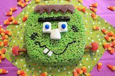 Halloween: Franken-munch rice krispie cake by evangeline