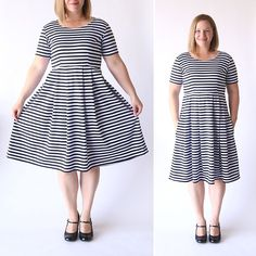 Learn how to sew the perfect knit fit & flare dress with this easy to follow sewing tutorial. How to make your own pattern in any size!