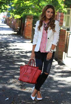 Celine Luggage Handbag 30CM in Red