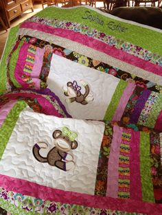 Lime green pink brown and purple baby girl by sewsosweetdesigns, $125.00