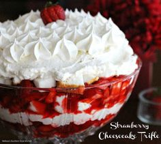 Strawberry Cheesecake Trifle by Melissa's Southern Style Kitchen. - This strawberry cheesecake trifle is one of those make-in-advance crowd pleasing desserts. It's filled with sweet strawberries, cubed cake and a homemade vanilla cheesecake mousse. Dessert Parfait, Dessert Crepes, Dessert Dips, Trifle Desserts, Strawberry Desserts, Delicious Desserts, Yummy Food, Strawberry Trifle, Desserts Menu