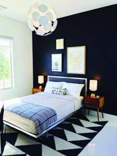 Mid century bedroom, black and white bedroom Modern Bedroom Decor, Master Bedroom Design, Home Bedroom, Bedroom Furniture, Bedroom Ideas, Bedroom Designs, Bedroom Inspiration, Modern Bedrooms, Furniture Ideas
