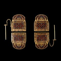 Shoulder clasps from the Sutton Hoo ship burial. Anglo-Saxon, early century AD From Mound Sutton Hoo, Suffolk, England