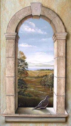 Trompe l' oeil Arched Window with Dove mural Faux Painting, Mural Painting, Paintings, Mural Wall Art, Arched Windows, Banksy, Painting Techniques, Landscape Art, Fresco
