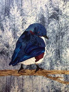 Bluebird in winter. On my favorite winter trees fabric.