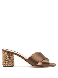 ROCHAS | Embellished-heel satin mules #Shoes #Heels #ROCHAS