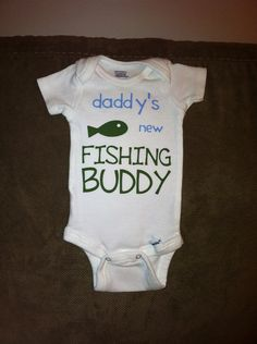 daddy's new FISHING BUDDY baby onesie or toddler tee shirt t-shirt - super cute shower gift, perfect for newborn photo shoot with daddy on Etsy, $15.00