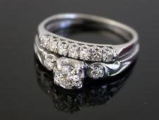 Vtg. 18k  White Gold 1/2 ct.  Diamond Ring Wedding Engagement Set  Sz.5.5  0146