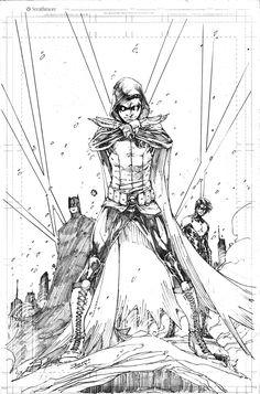Batman (Bruce Wayne), Robin (Damian Wayne) and Nightwing (Dick Grayson) by Brett Booth.