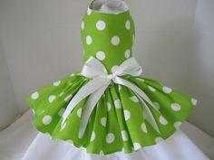 Dog Dress  XS Lime  Polka Dot  By Nina's by NinasCoutureCloset, $35.00