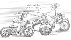 JP / JW - Clever driver by cheetahtrout on DeviantArt Jurassic Park Funny, Jurassic Park World, Legendary Creature, Prehistoric Creatures, Good Movies, Awesome Movies, Drawing Sketches, Cool Art, Haha