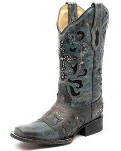 Corral Women's Blue Jean Metal Cross Boot - C1154