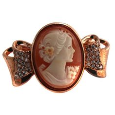 AMEDEO NYC Fiocco 20mm Cameo Bow Shaped Rose Gold GP Ring Size 8 #AMEDEONYC #Fashion