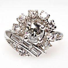 Vintage Old European Cut Diamond Cluster Engagement Ring 14K White Gold 1950s