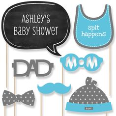 20 Baby Shower Photo Booth Props - Blue Boy Kit with Mustache, Hat, Bow Tie, Glasses and Custom Talk Bubble in Blue and Gray