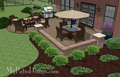 of colorful pavers and tumbled patio block together create this Dreamy Paver Patio Design with Seat Wall. 2 Areas for large patio table and fire pit. Backyard Patio Designs, Small Backyard Landscaping, Landscaping Ideas, Backyard Ideas, Sloped Backyard, Back Yard Patio Ideas, Mulch Landscaping, Small Patio, Design Jardin